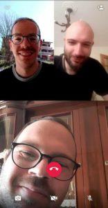 Manuel, Vinicio e Giuseppe in una videochiamata di redazione.