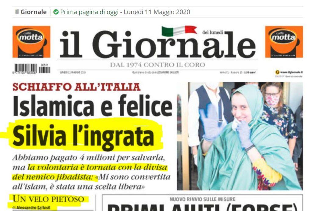 Prima pagina de Il Giornale su Silvia Romano