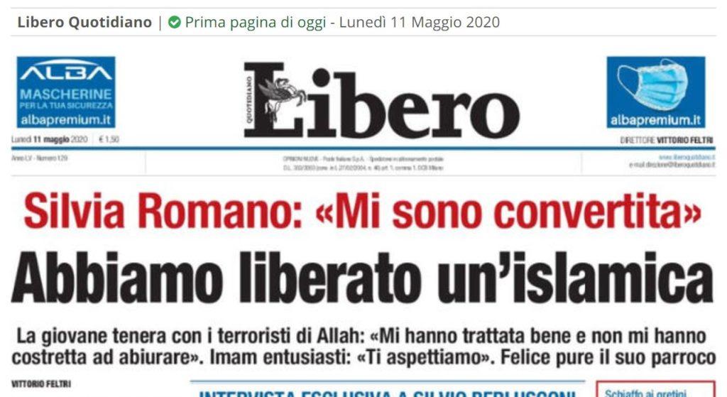 prima pagina di Libero su Silvia Romano